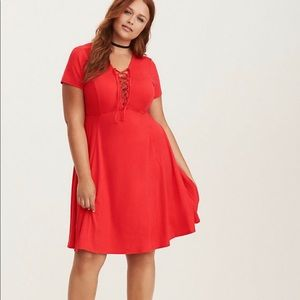 Torrid Red Jersey Lace Up Midi Skater Dress
